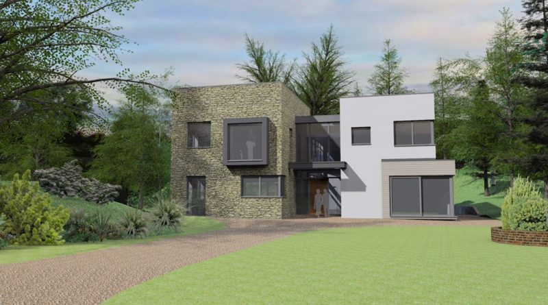 View of front of new Contemporary dwelling, Farnham